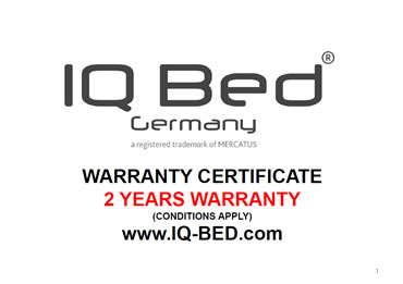 IQ-Bed Germany 2 year warranty certificate